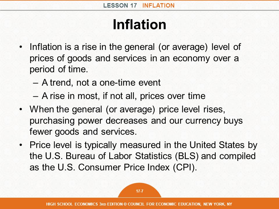 Inflation Inflation is a rise in the general (or average) level of prices of goods and services in an economy over a period of time.