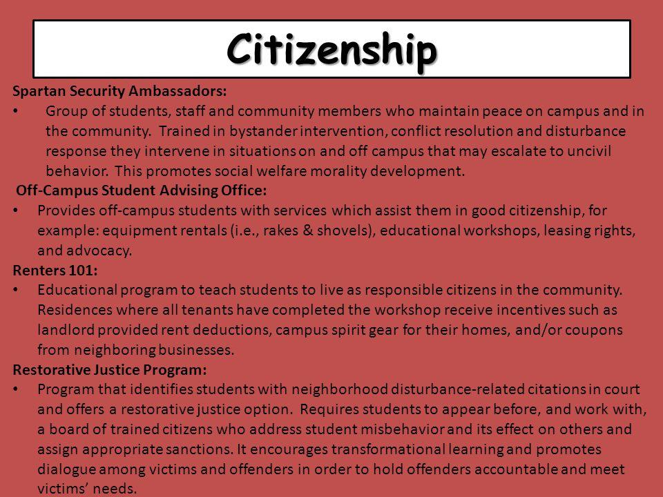 Citizenship Spartan Security Ambassadors: