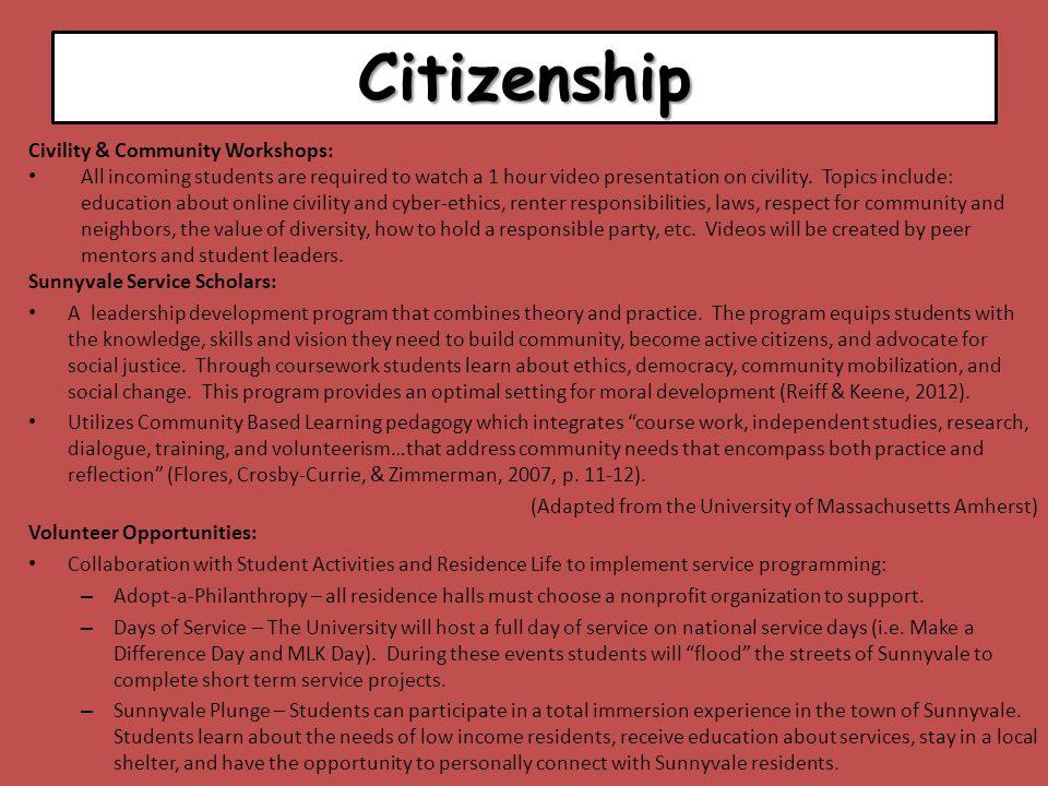 Citizenship Civility & Community Workshops: