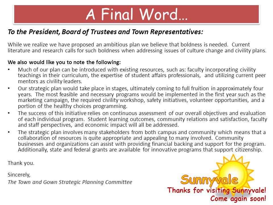 A Final Word… Sunnyvale