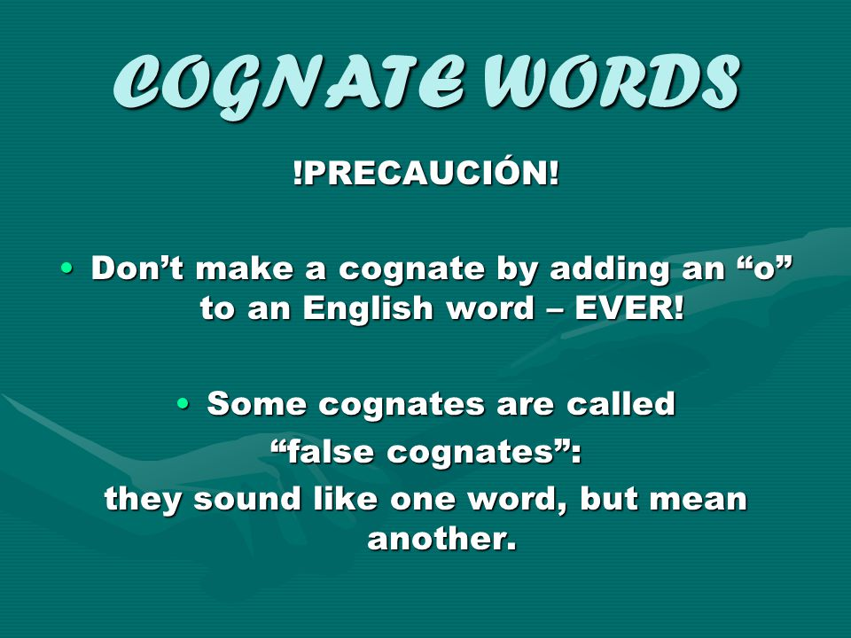 COGNATE WORDS !PRECAUCIÓN!