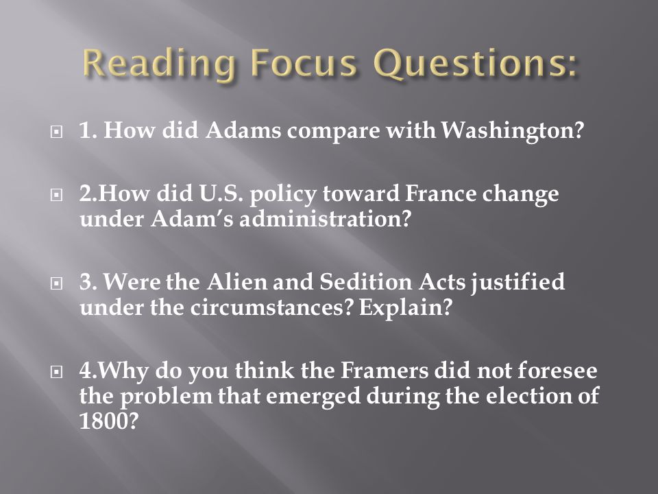 Reading Focus Questions: