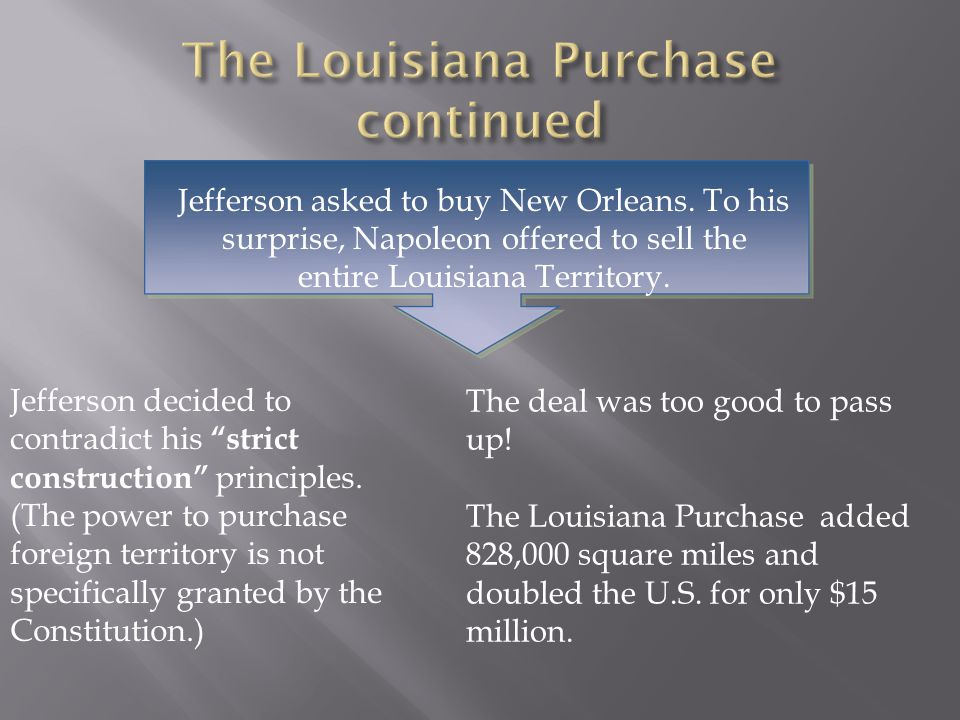 The Louisiana Purchase continued