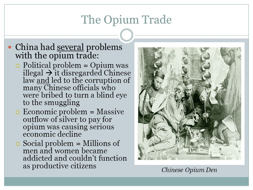 The Opium Trade China had several problems with the opium trade: