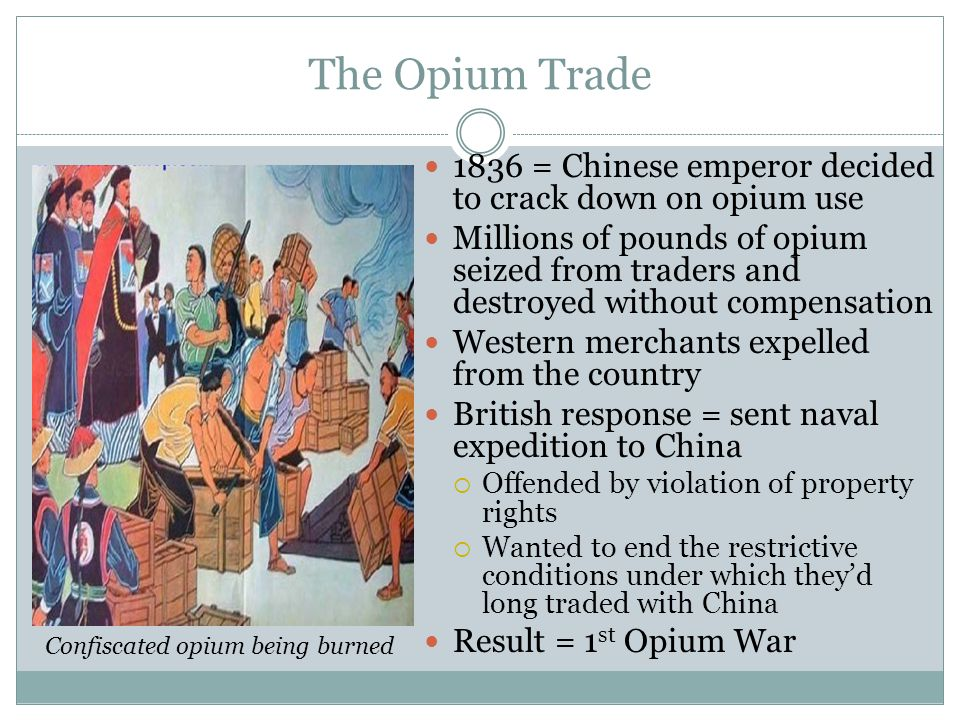 Confiscated opium being burned