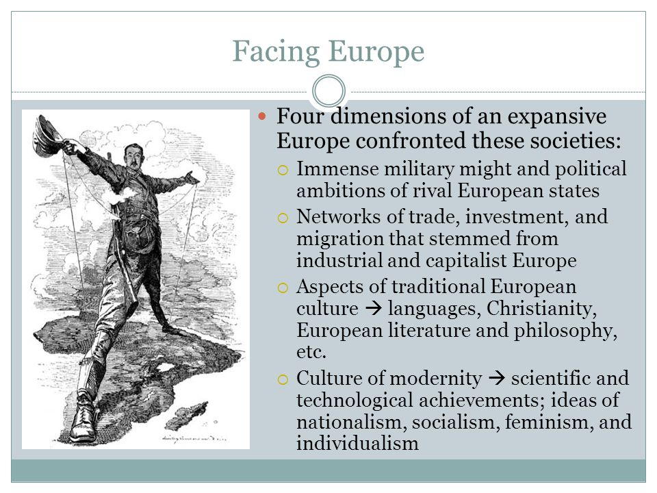 Facing Europe Four dimensions of an expansive Europe confronted these societies: