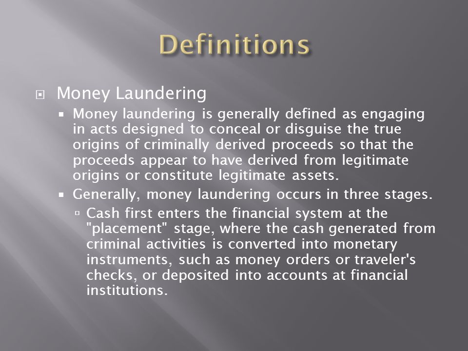 Definitions Money Laundering