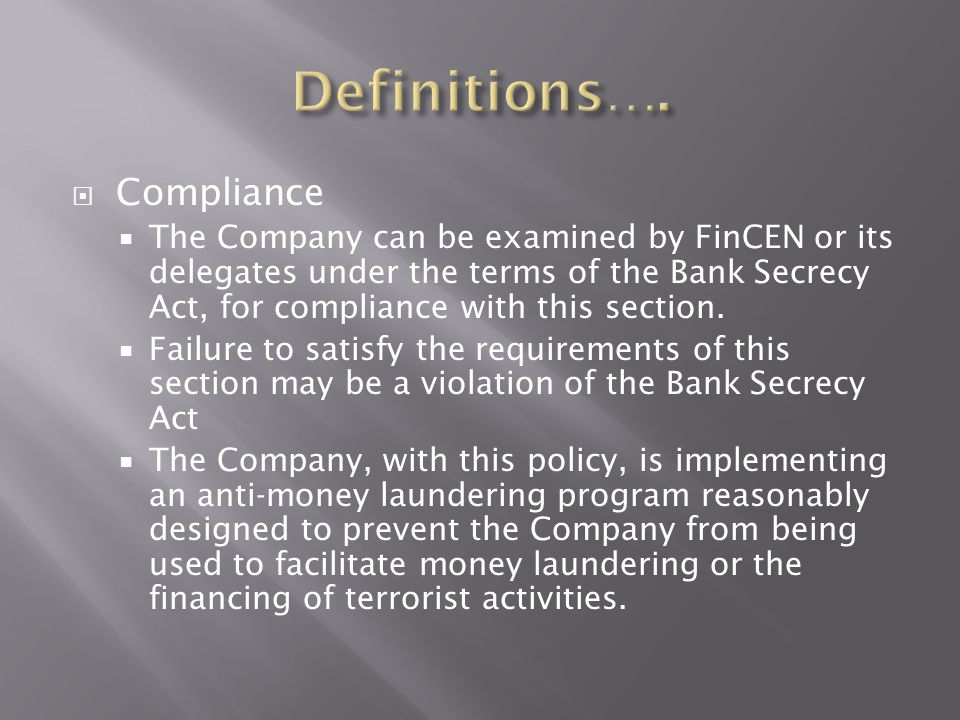 Definitions…. Compliance