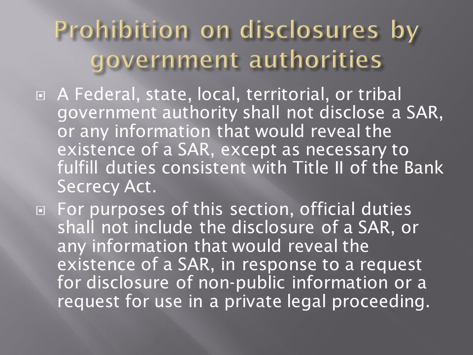 Prohibition on disclosures by government authorities