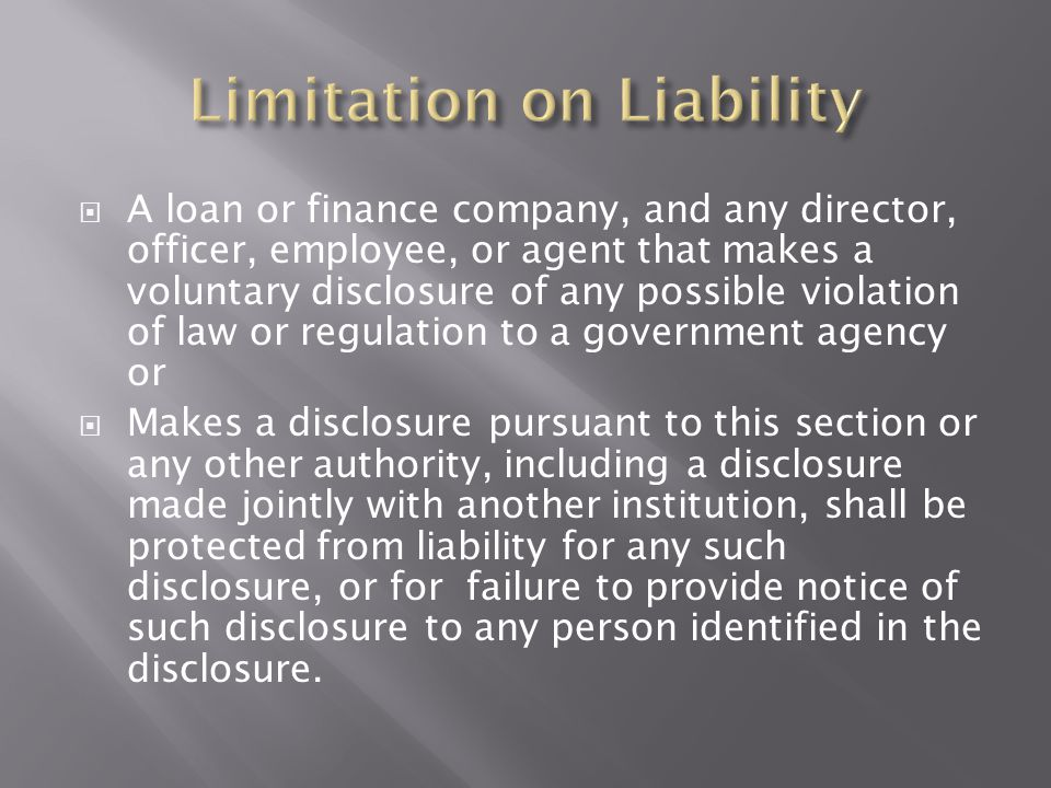 Limitation on Liability