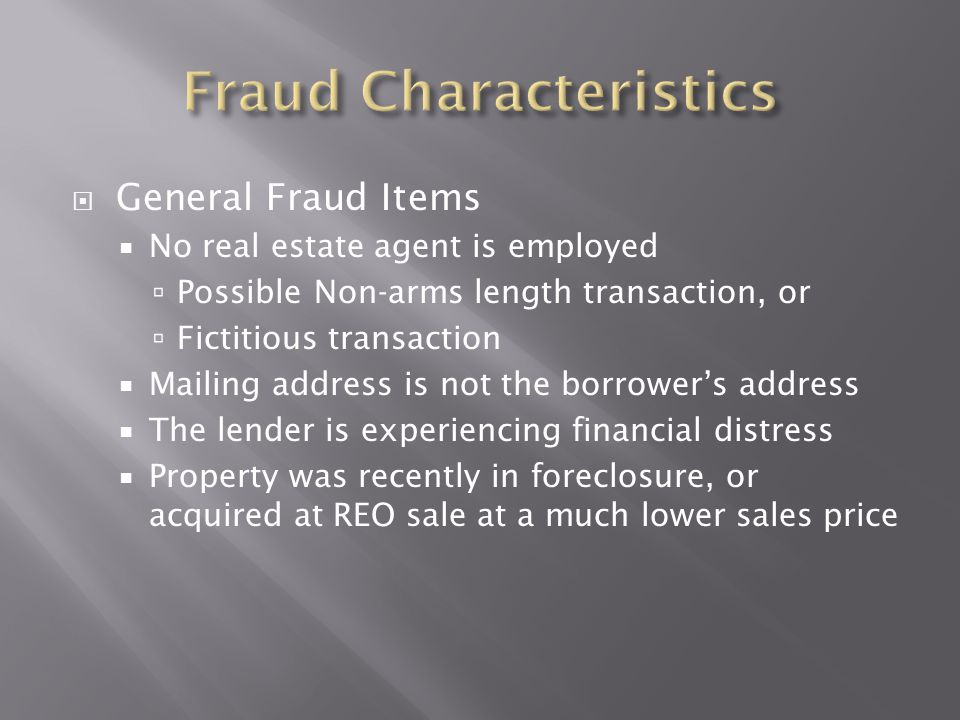 Fraud Characteristics