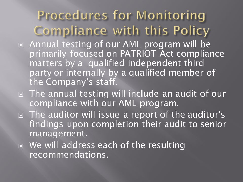 Procedures for Monitoring Compliance with this Policy