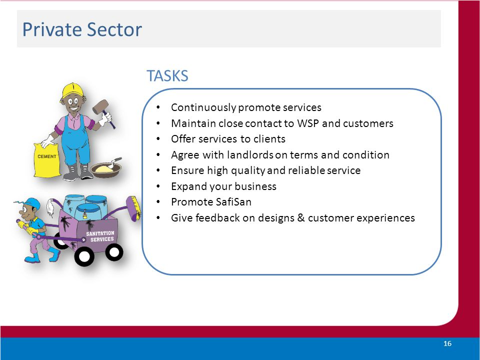 Private Sector TASKS Continuously promote services