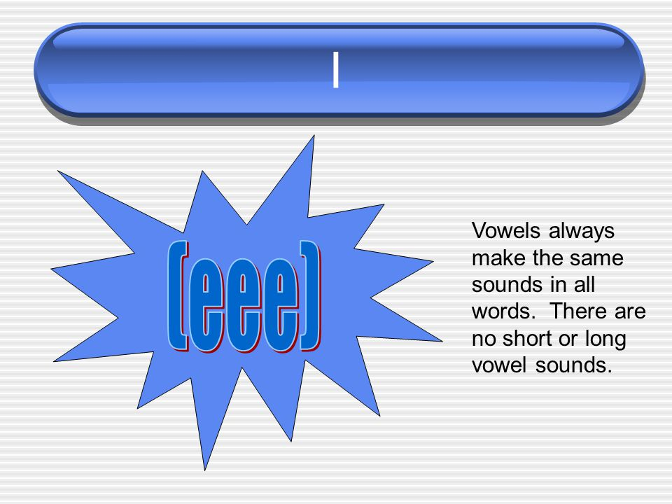 I Vowels always make the same sounds in all words. There are no short or long vowel sounds. (eee)