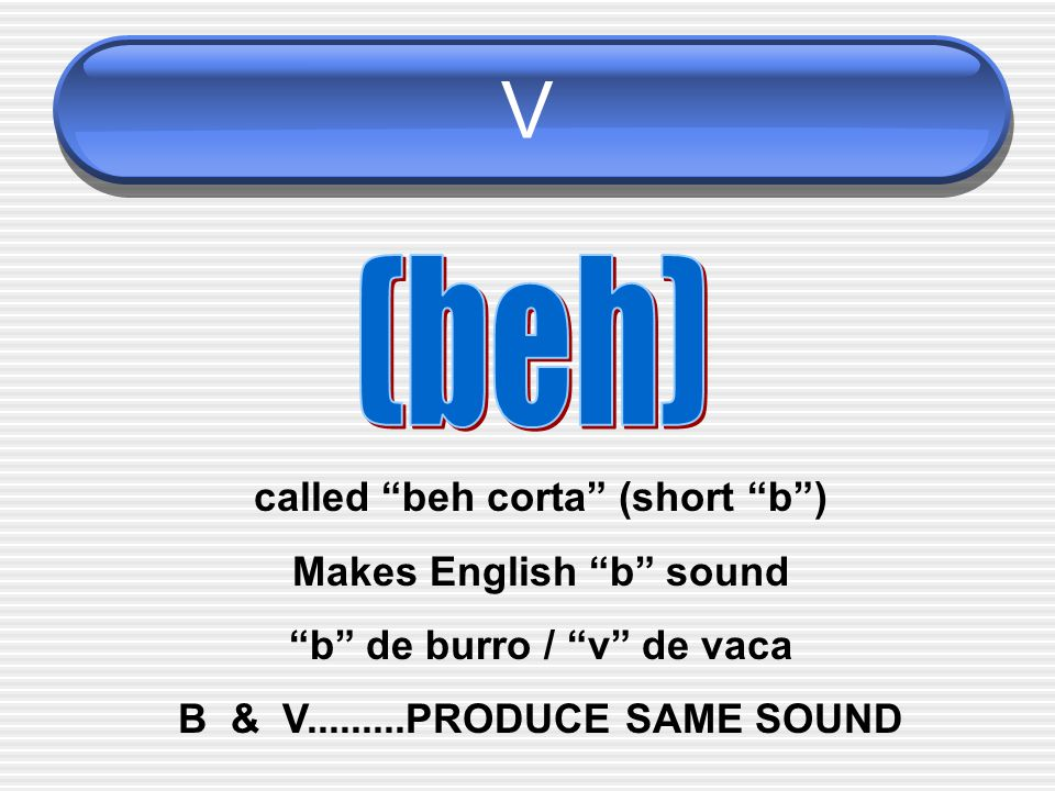 V (beh) called beh corta (short b ) Makes English b sound