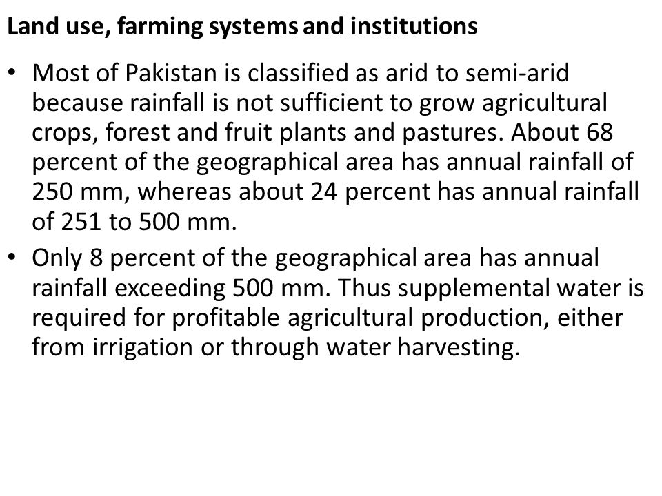 Land use, farming systems and institutions