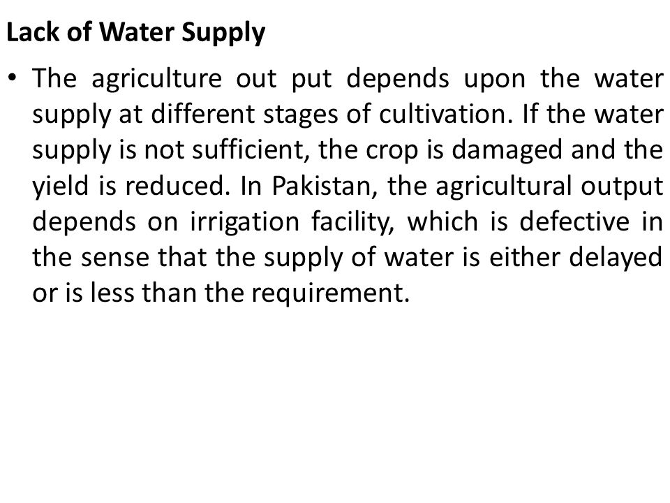 Lack of Water Supply