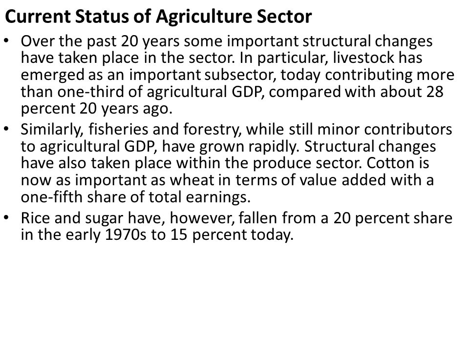 Current Status of Agriculture Sector
