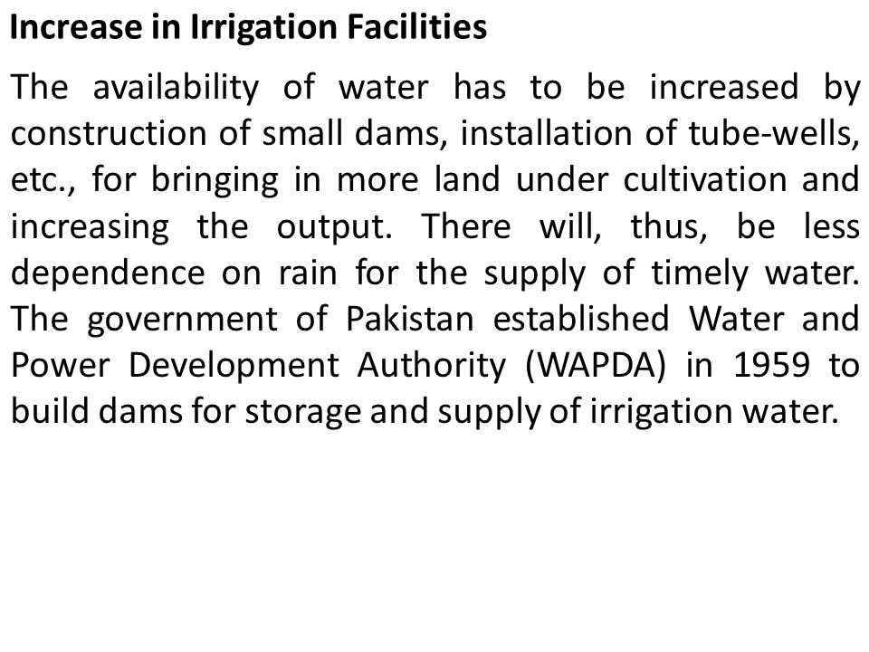 Increase in Irrigation Facilities