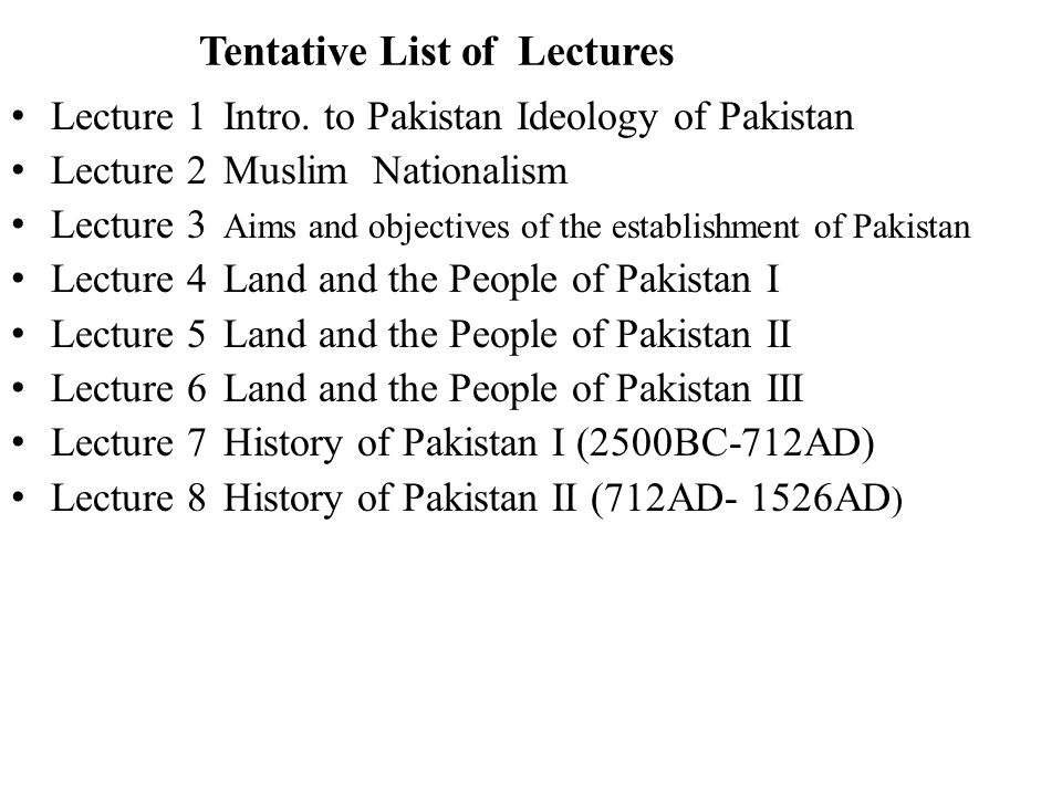 Tentative List of Lectures