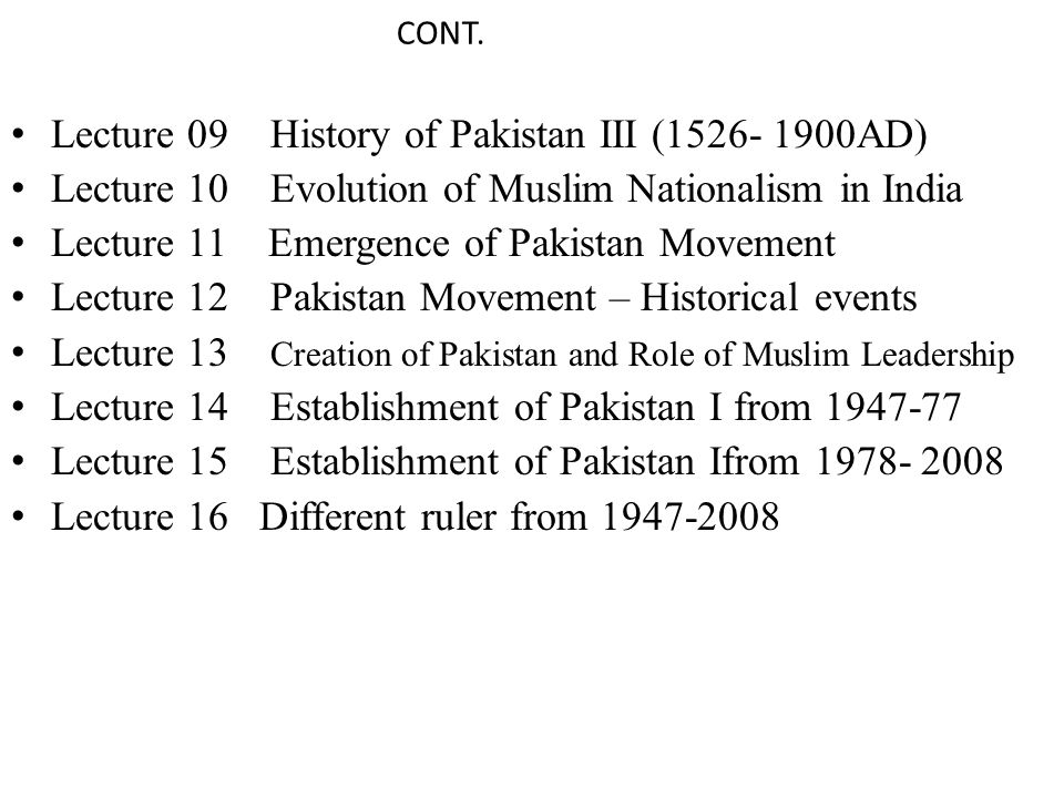 Lecture 09 History of Pakistan III (1526- 1900AD)