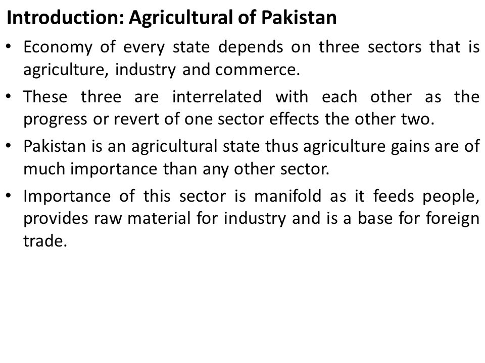 Introduction: Agricultural of Pakistan