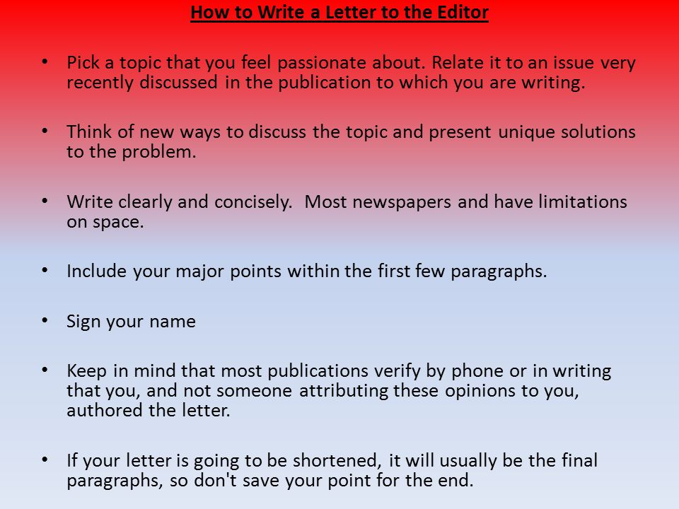 writing a letter to the editor