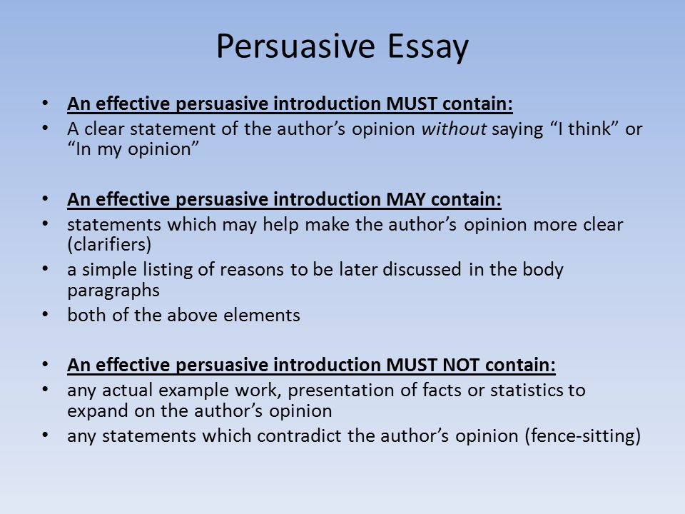 elements necessary effective persuasive essay Persuasive essay elements necessary effective (creative writing undergraduate programs) posted on 9 απριλίου 2018 by i need to be just the right level of.