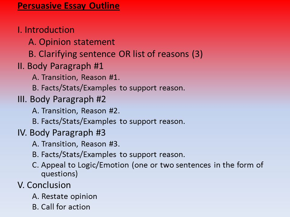body of an essay outline Writing essays by eleanor wakefield  each body paragraph will  essay outline i introduction: general info about topic, reason for reader to be interested.