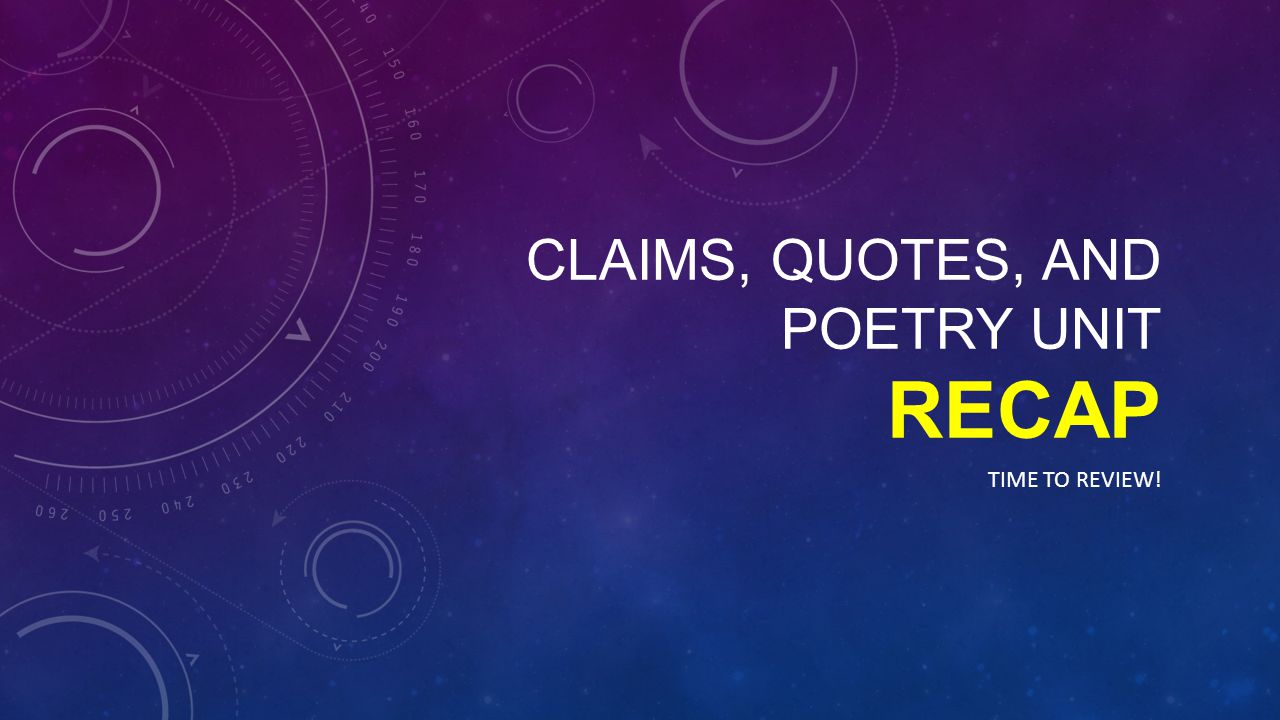 Claims, Quotes, and poetry unit recap