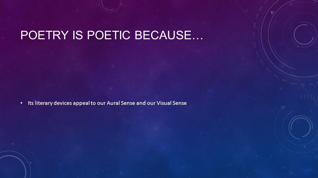 Poetry is Poetic because…