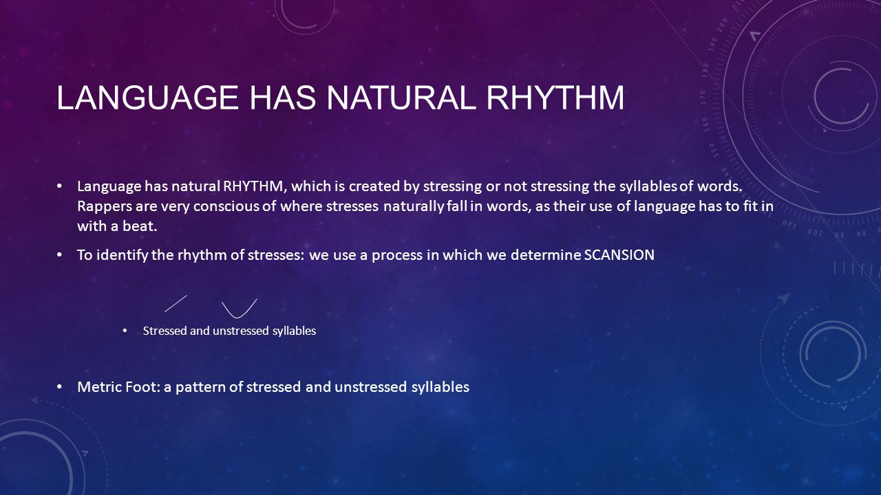 Language has NATURAL rhythm