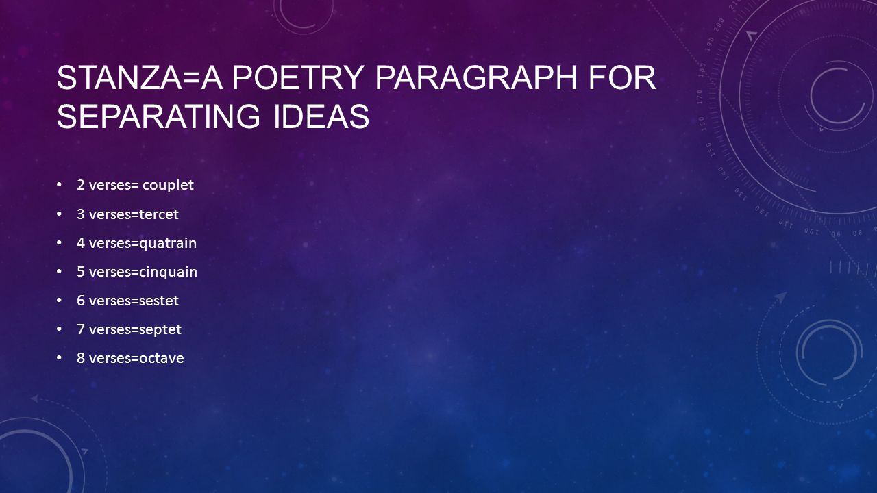 Stanza=a poetry paragraph for separating ideas