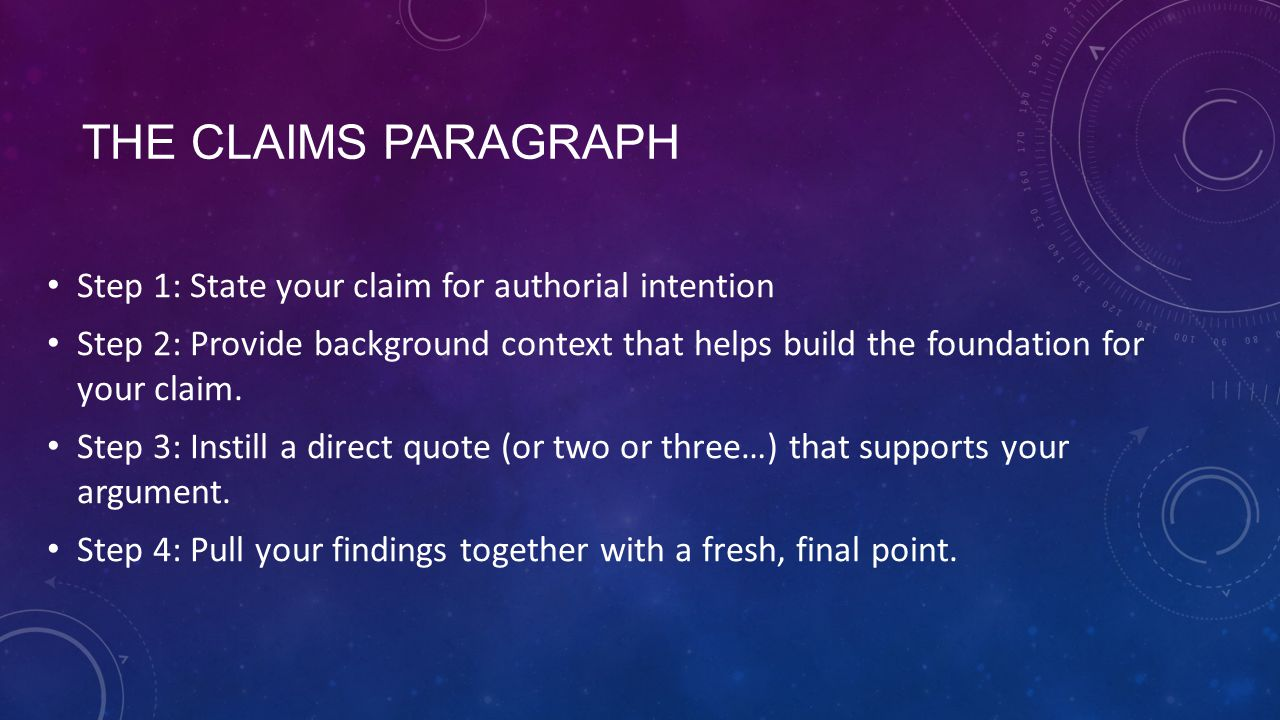 The Claims paragraph Step 1: State your claim for authorial intention