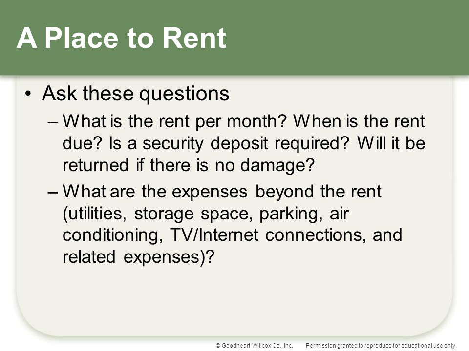 A Place to Rent Ask these questions