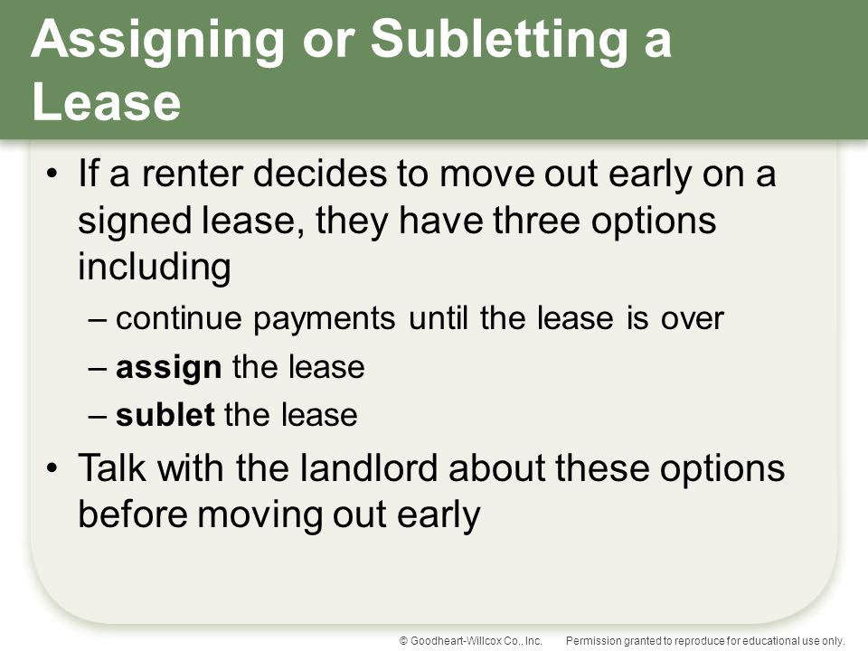 Assigning or Subletting a Lease
