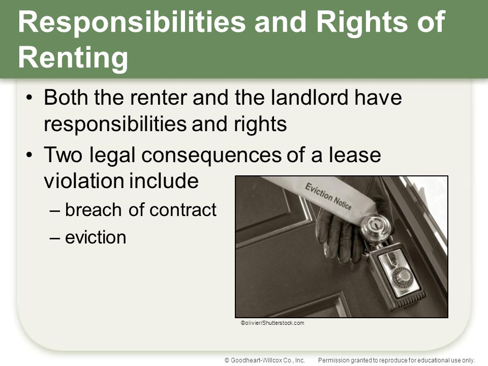 Responsibilities and Rights of Renting