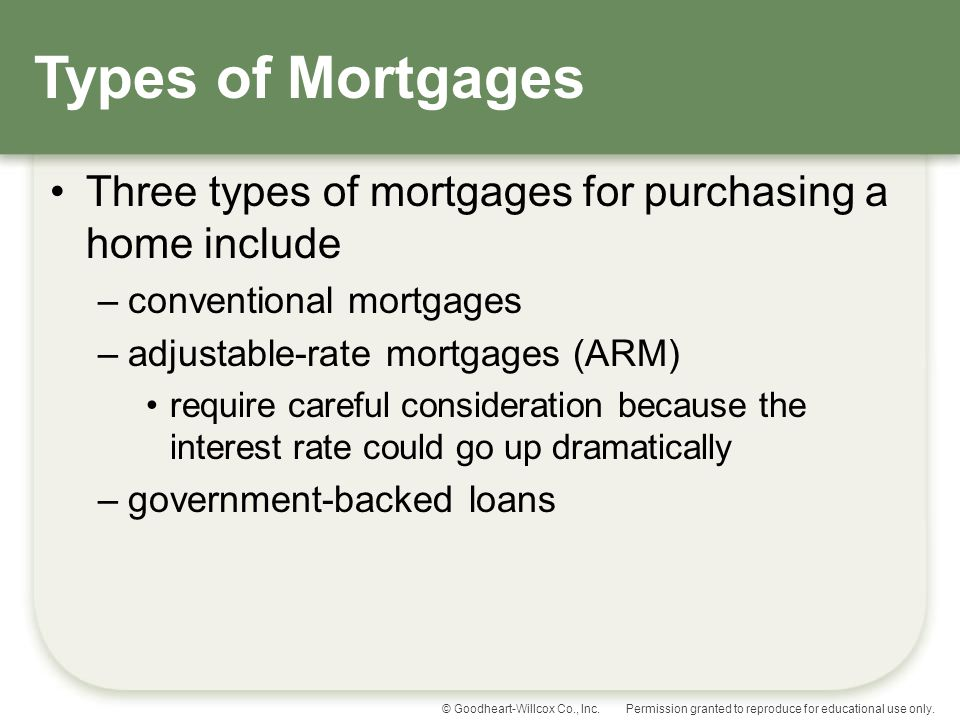 Types of Mortgages Three types of mortgages for purchasing a home include. conventional mortgages.