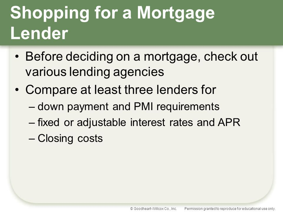 Shopping for a Mortgage Lender