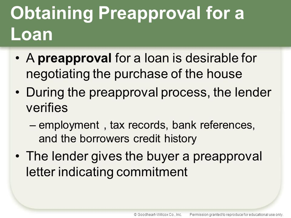 Obtaining Preapproval for a Loan