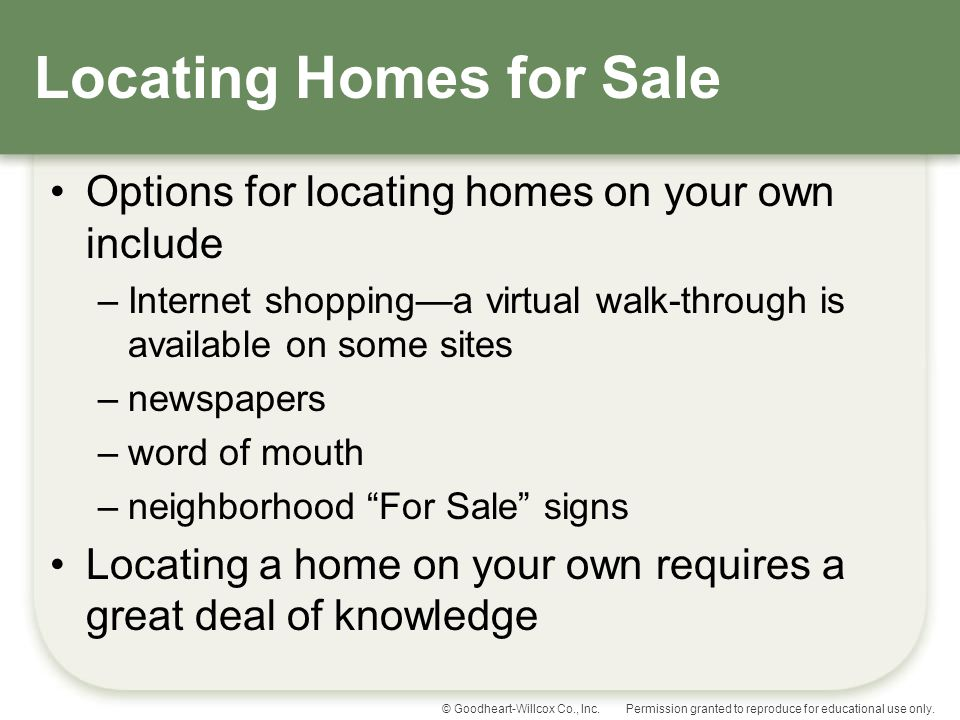 Locating Homes for Sale