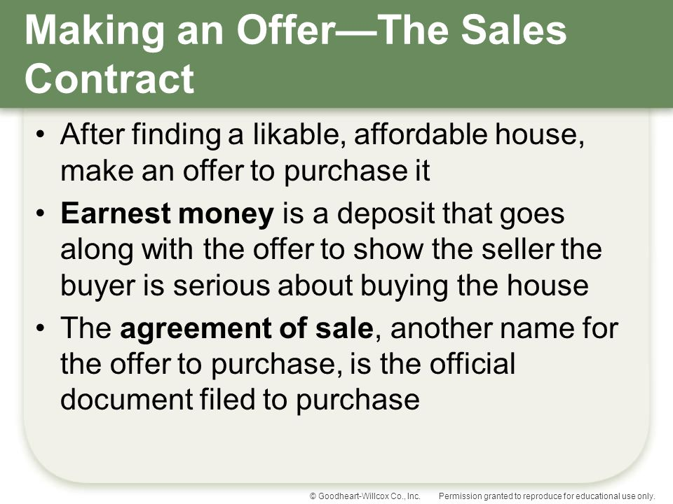 Making an Offer—The Sales Contract