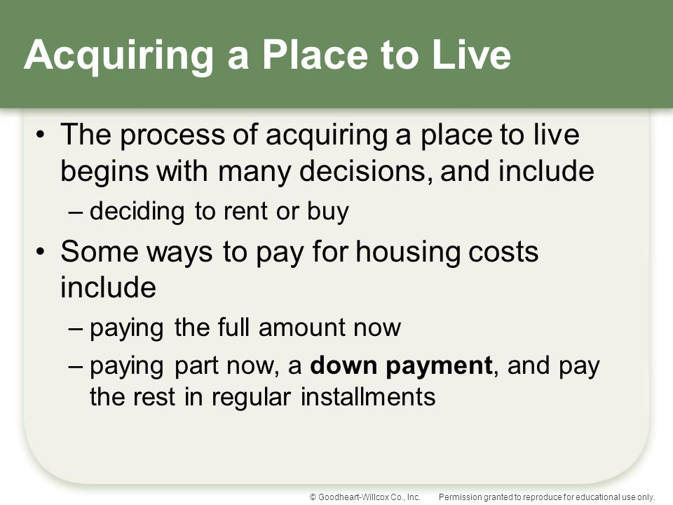 Acquiring a Place to Live