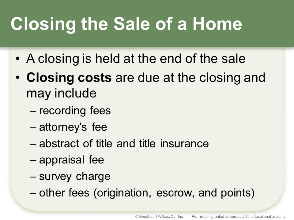 Closing the Sale of a Home