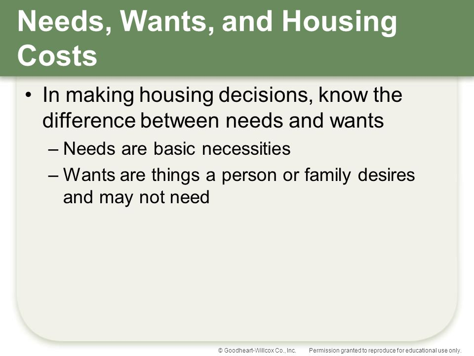 Needs, Wants, and Housing Costs