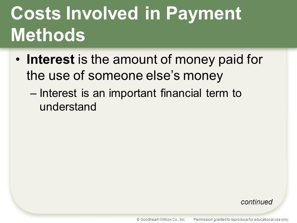 Costs Involved in Payment Methods