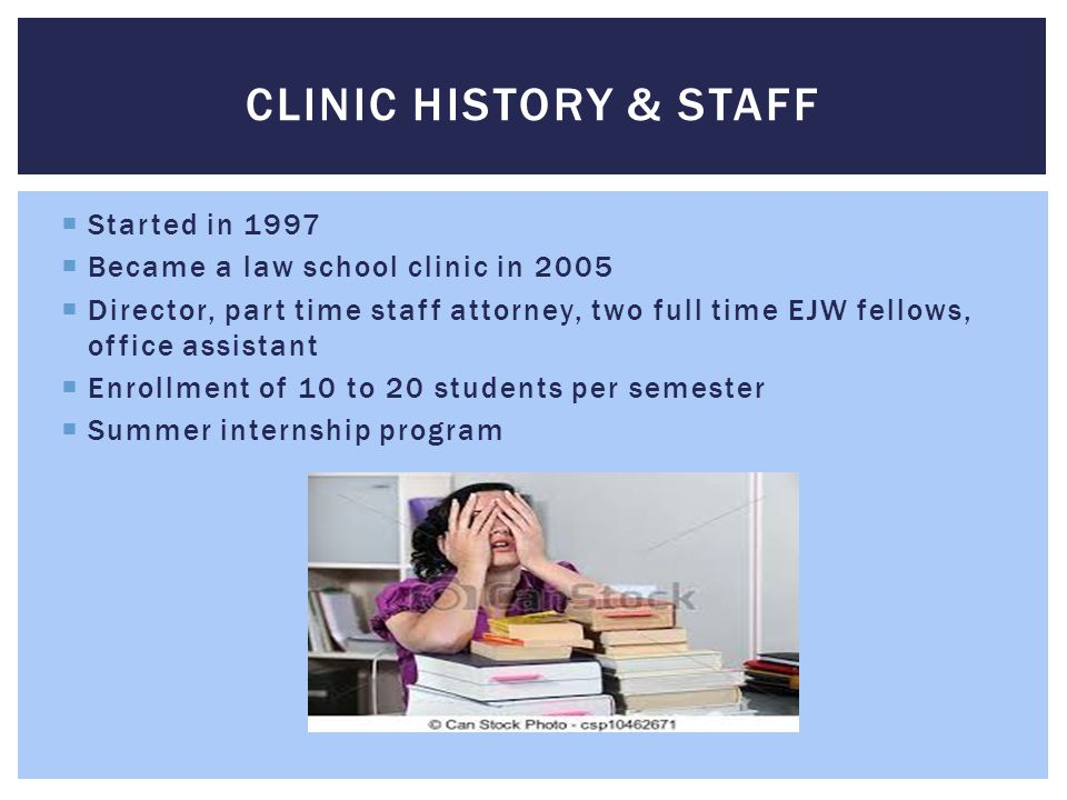 Clinic history & staff Started in 1997