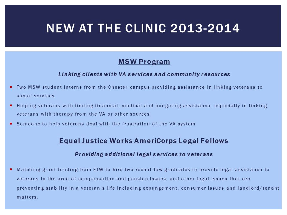 New at the clinic 2013-2014 MSW Program