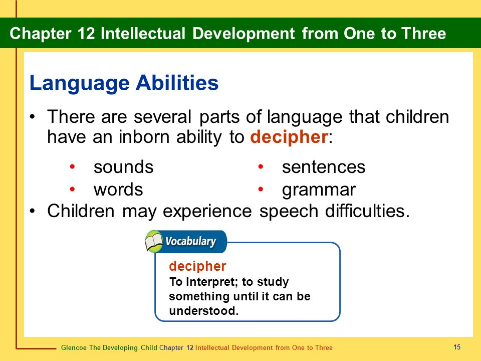 Language Abilities There are several parts of language that children have an inborn ability to decipher:
