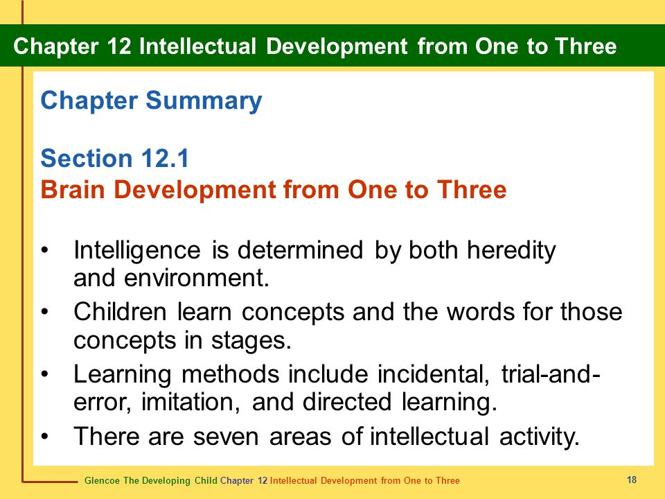 Brain Development from One to Three